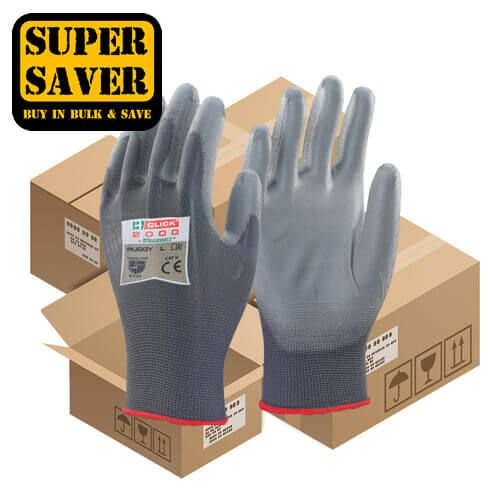 Click PUG PU Coated Grey Gloves - 100 Pairs