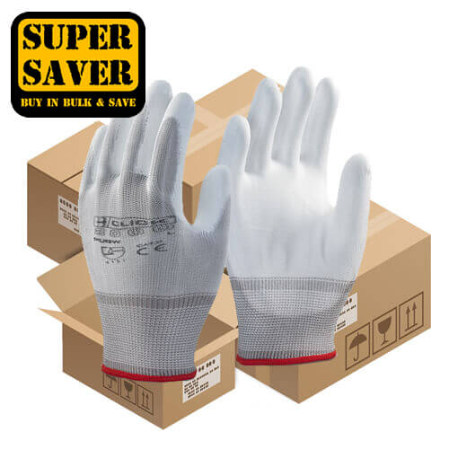 Click PUG PU Coated White Gloves - 100 Pairs